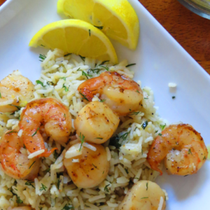 Lemon Shrimp & Scallops on Rice